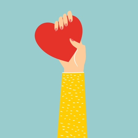Share your love. Hand holding heart as love massage. Illustration