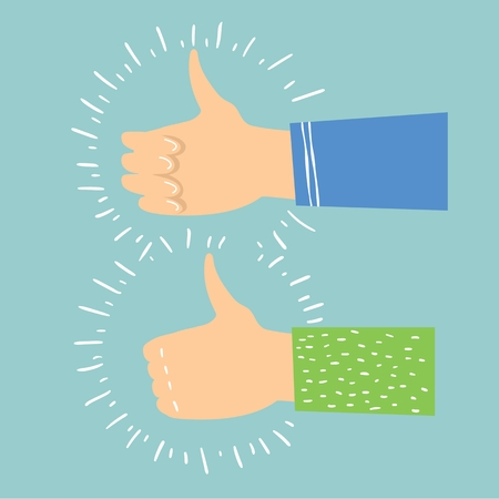 Vector illustration of hands with thumbs up in flat style. Stock Illustratie