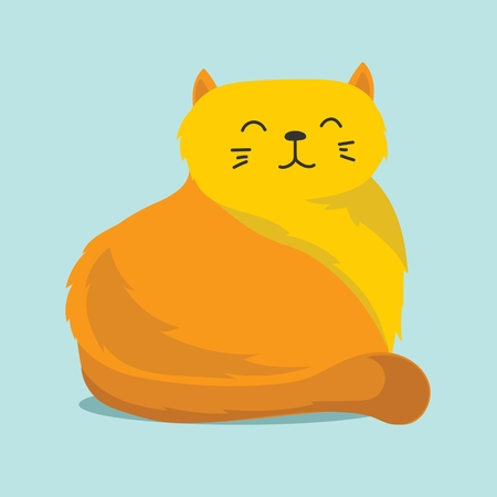 Cute vector illustration of cat pet isolated