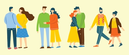 Illustration with happy couples in love.