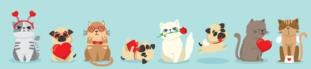 Vector illustration of cute and funny pet characters.