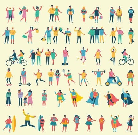 Vector illustration in a flat style of different people. Illustration