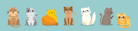Cute vector illustration of cat breeds. Ilustração