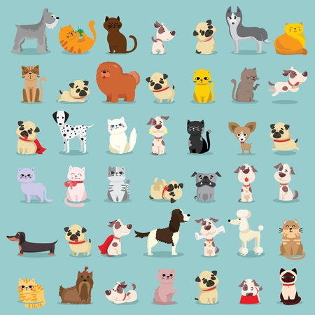 Vector illustration of cute and funny cartoon pet characters. Vektorové ilustrace