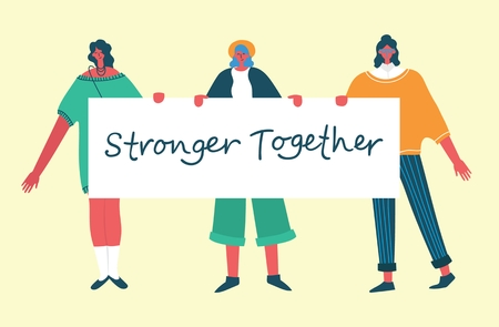 Stronger together. Colorful vector illustration. Illustration