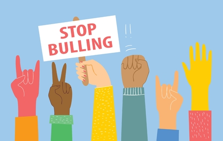Stop bulling. Vector illustration with Hands Foto de archivo - 116565868
