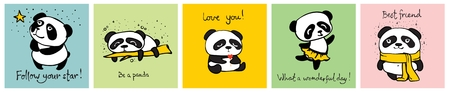 Vector set of vector cards with cute pandas Illustration