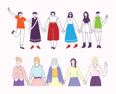 Colorful vector illustration of happy womens internarional day