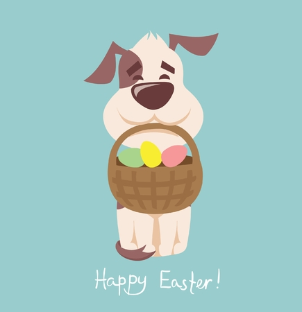 Happy Easter in the flat style Illustration