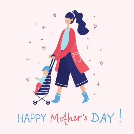 Colorful vector illustration of Happy Mother's Day.