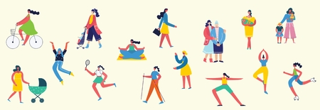Colorful vector illustration concept set of different activities