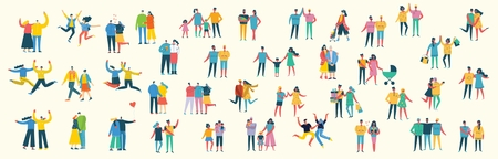 Illustration with happy cartoon couples of people.