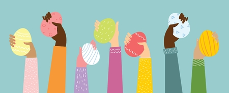 Vector illustration of hands up with the eggs.