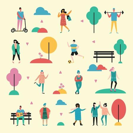 Vector background in flat design of group people. Stock Illustratie