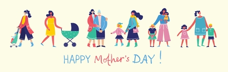 Colorful vector illustration of Happy Mothers Day.