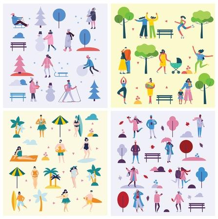 Vector backgrounds of different activities of people Vetores