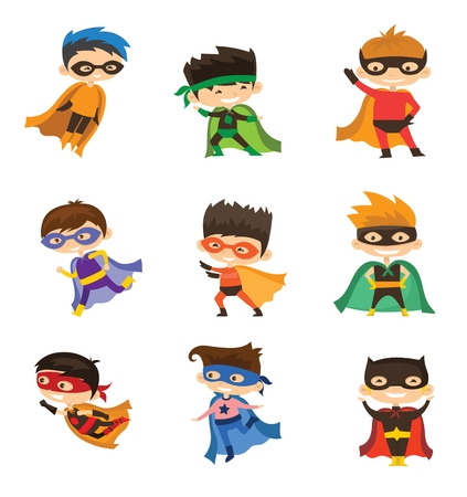 Cartoon Vector Illustration of Boys Superheroes