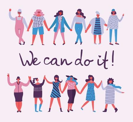 We can do it. Feminine concept Illustration