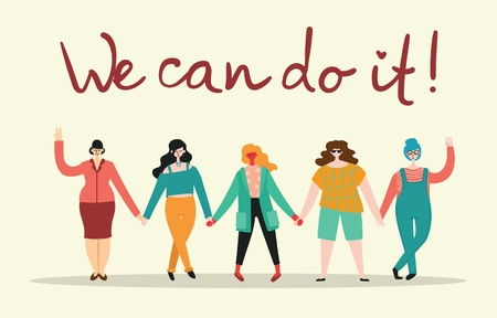 We can do it. Feminine concept 向量圖像