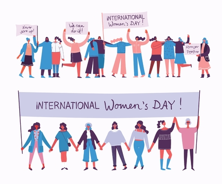 Happy Woman's internarional day. Stock Illustratie
