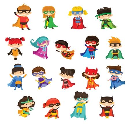 Cartoon vector illustration of kid superheroes