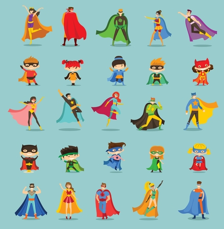 Vector illustrations of female and male superheroes