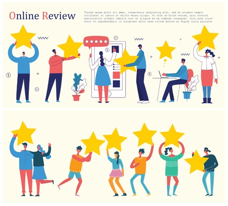Vector illustration review concept business people