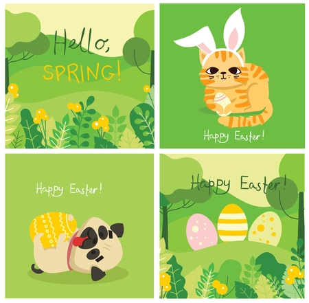 Happy Easter card in the flat design. Ilustrace