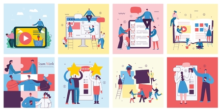 Vector illustrations concept business people Illustration