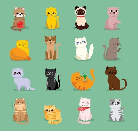 Vector illustrations set of cat breeds.
