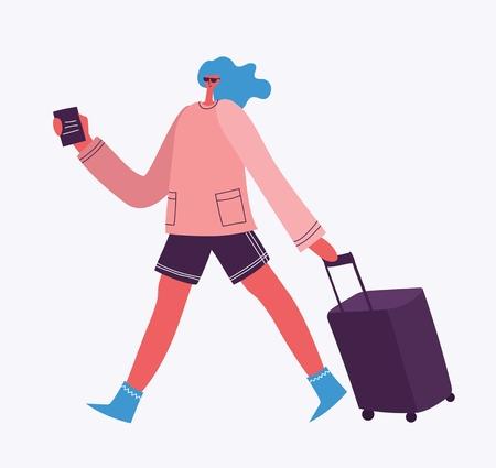 Vector illustration of woman traveler