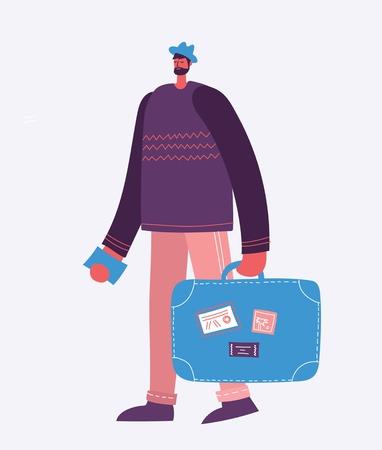 Vector illustration young man traveler