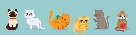 Cute vector illustrations set of cat breeds