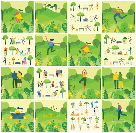 Vector Nature ECO background with different people