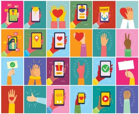Super set of illustrations of hand holding smartphone