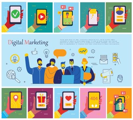 Vector illustrations of concept of digital marketing 向量圖像