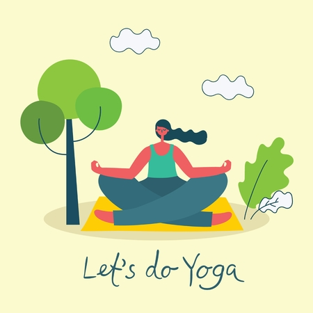 Vector illustration of a girl in yoga lotus pose 向量圖像