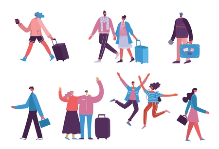 Vector illustration young man traveler with luggage