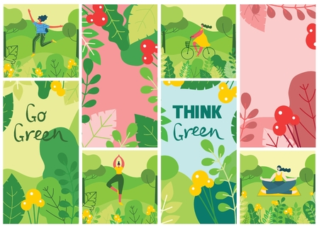 Go green. ECO background with different people