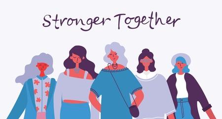 Stronger together. Feminine concept