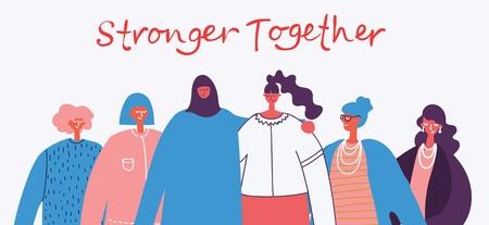 Más fuertes juntos. Concepto femenino. Ilustración de vector