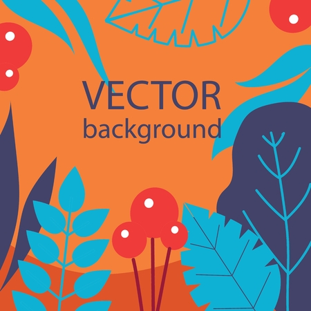 Vector abstract herbal background with spring leaves
