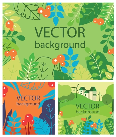 Vector abstract herbal background set with spring 向量圖像