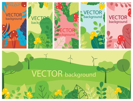 Vector abstract set with spring or summer leaves 向量圖像
