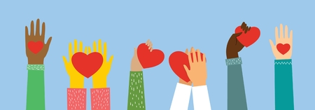Share your love. Hands with hearts as love massages.