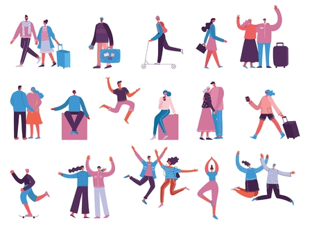 Vector illustration in different activities people