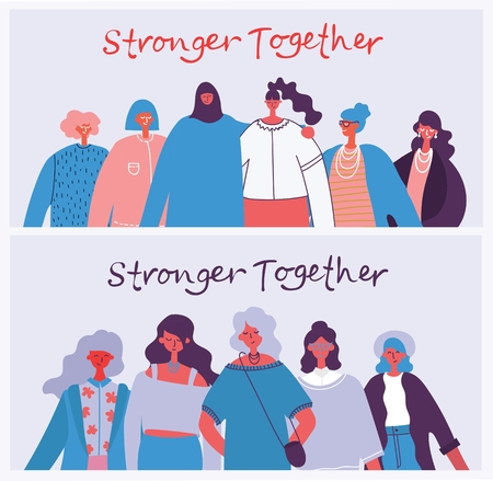 Stronger together. Feminine concept.