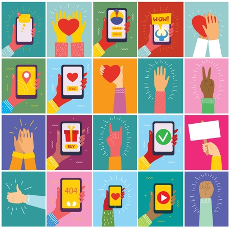 Set of illustrations of hand holding a smartphone Stock Illustratie