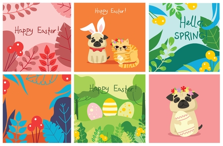 Happy Easter card in the flat design. 向量圖像