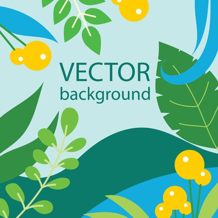 Vector background set of leaves and flowers for banners.